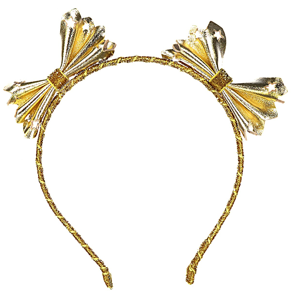 TINY INTERSTELLAR DOUBLE BOW LEATHER HEADBAND GOLD