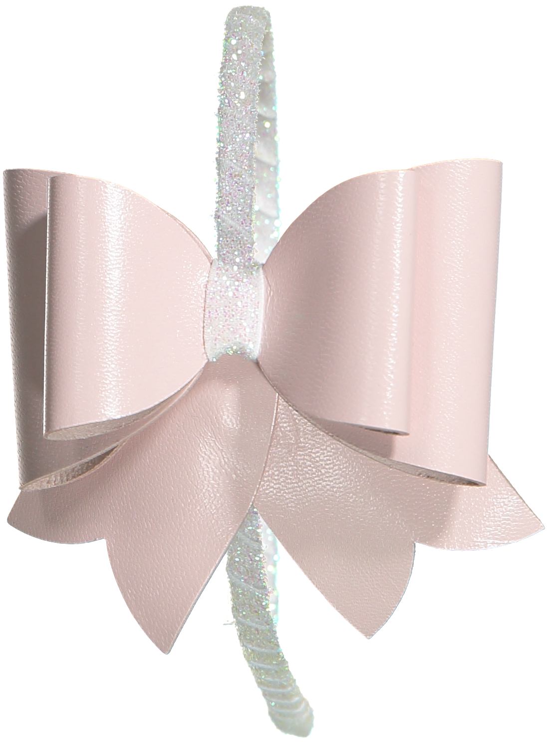FANCY BOW LEATHER HEADBAND PINK