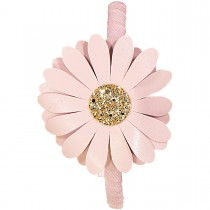 LEATHER HEADBAND DAISY PINK AND GOLD