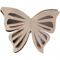BIG BUTTERFLY LEATHER HAIRCLIP PINK AND GOLD