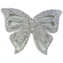 BIG BUTTERFLY LEATHER HAIRCLIP WHITE SILVER