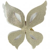 WILD BUTTERFLY LEATHER HAIRCLIP WHITE AND GOLD