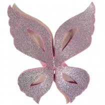 WILD BUTTERFLY LEATHER HAIRCLIP PINK AND SPARKLING PINK