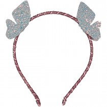 FLYING TINY BUTTERFLIES LEATHER GLITTER HEADBAND COSMIC GREY