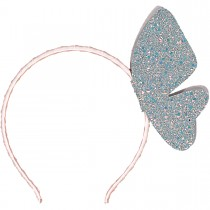 FLYING BUTTERFLY LEATHER GLITTER HEADBAND COSMIC GREY