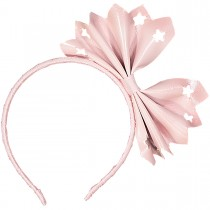 BIG INTERSTELLAR BOW LEATHER HEADBAND PINK