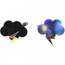 HAIRCLIPS LEATHER CLOUD AND BOLT HOLOGRAPHIC OR BLACK