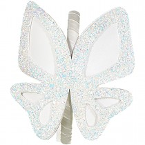 BIG BUTTERFLIES LEATHER HEADBAND WHITE