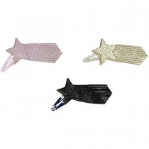 HAIRCLIP LEATHER COMET STAR PINK or GOLD or BLACK