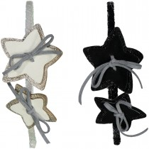 HEADBAND LEATHER BOWS AND STARS WHITE