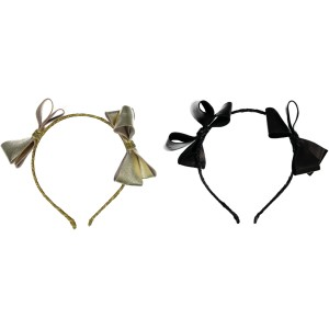 HEADBAND LEATHER DOUBLE FIRE BOW BLACK