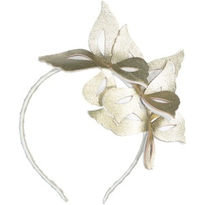 WILD BUTTERFLIES LEATHER HEADBAND WHITE AND GOLD