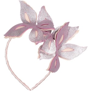 WILD BUTTERFLIES LEATHER HEADBAND PINK AND SPARKLING PINK