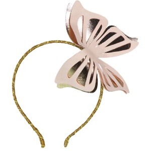 BIG BUTTERFLY LEATHER HEADBAND PINK AND GOLD
