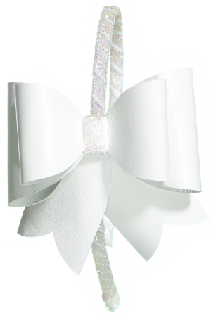 FANCY LEATHER BOW HEADBAND WHITE